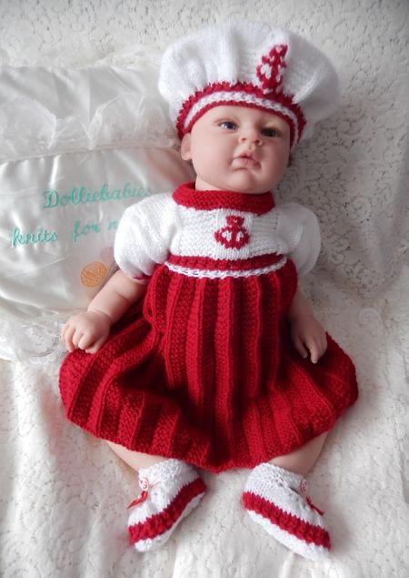 knitting pattern 048 sailor girl dress