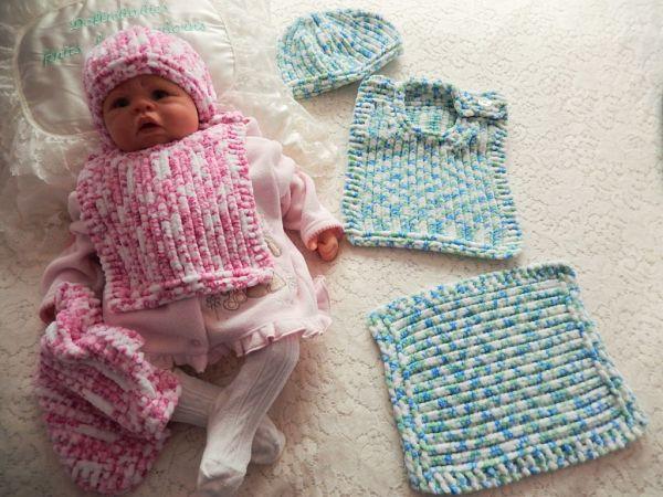 knitting pattern 051 bib beanie and comforter set