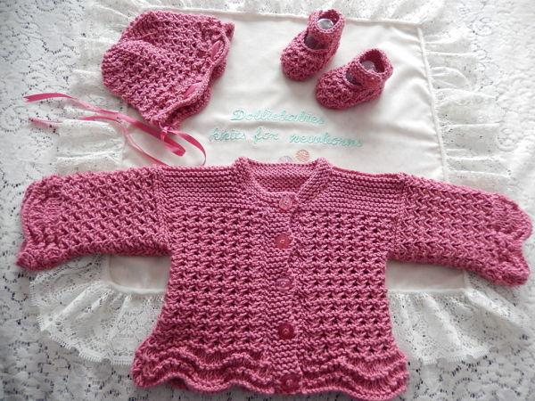 knitting pattern 53 girls lacy cardigan set