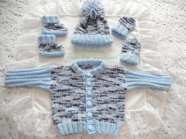 Knitting Pattern 60 Boys ribbed sleeve cardigan set