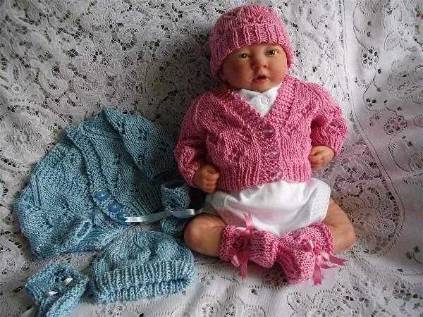 knitting pattern 015 premature lacy cardigan set