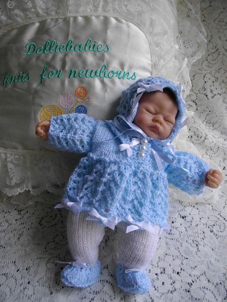 knitting pattern 027 micro preemie dress set