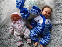 knitting pattern 032 reborn doll snow suit