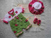 knitting pattern 038 romper with knitted flowers and leaves
