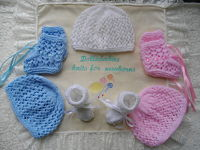 knitting pattern 40 unisex lacy hat and bootee set