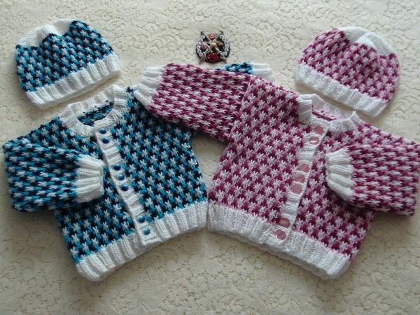 Knitting Pattern 056 unisex three colour cardigan
