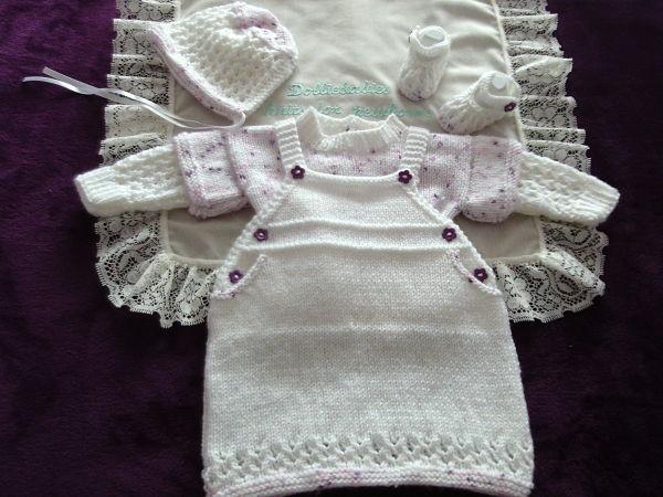 knitting pattern 067 - girls dungaree dress set